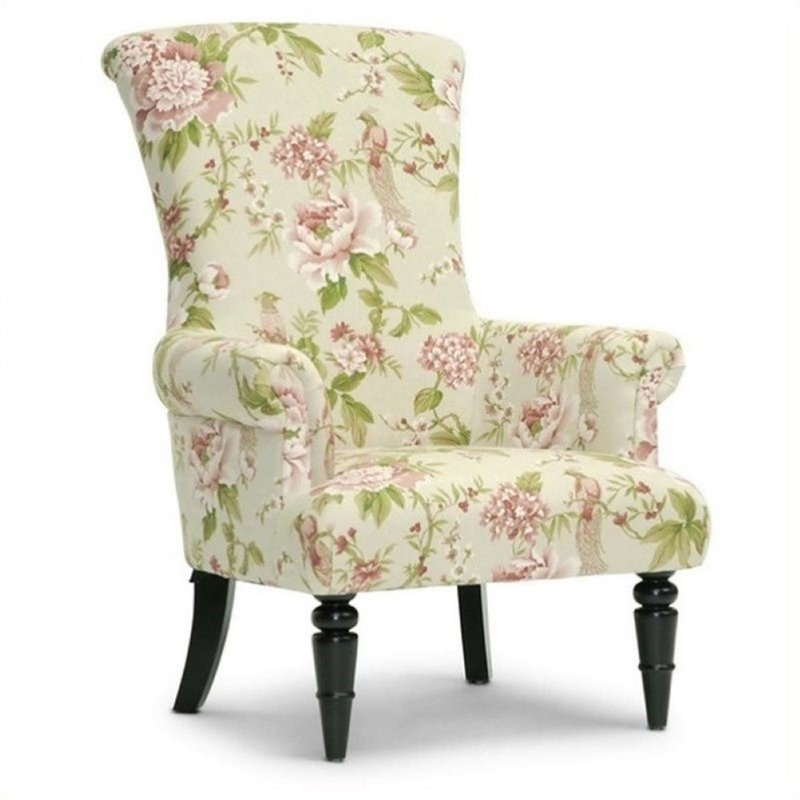 Atlin Designs Upholstered Accent Chair in Beige Floral Pa...