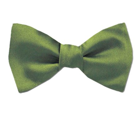 Buy Your Ties - PBT-ADF-26 - Men's Pre-tied Formal Tuxedo Solid Color Satin Bow Tie Olive (Satin Olive)