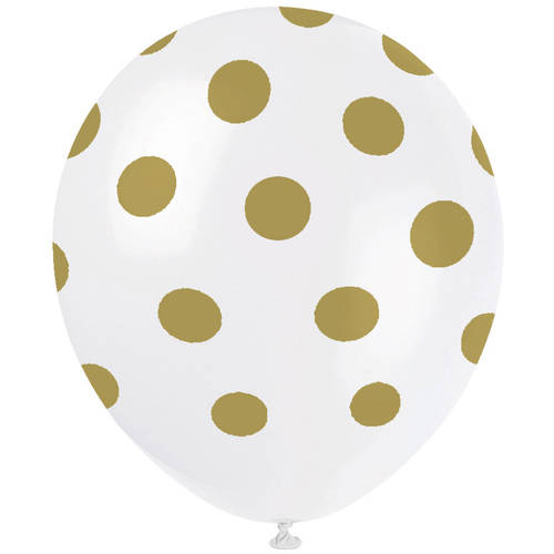 Latex Polka Dot Balloons, Gold, 12in, 6ct