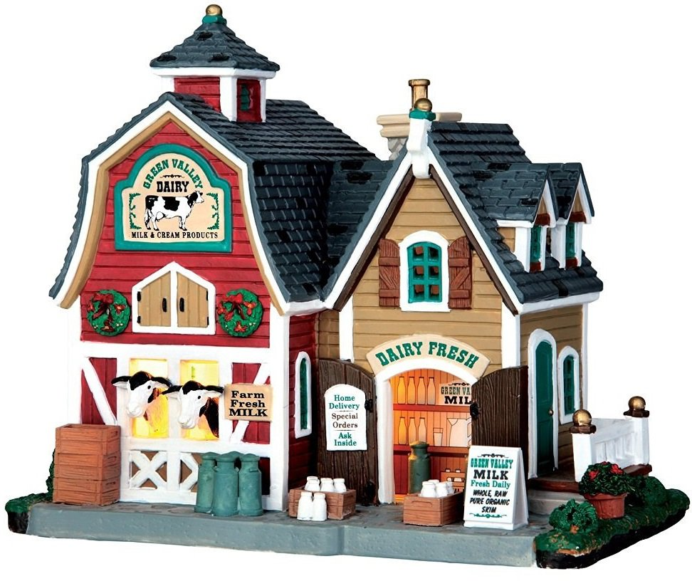 lemax christmas villagelemax 65116 christmas village building green valley milk, porcelain
