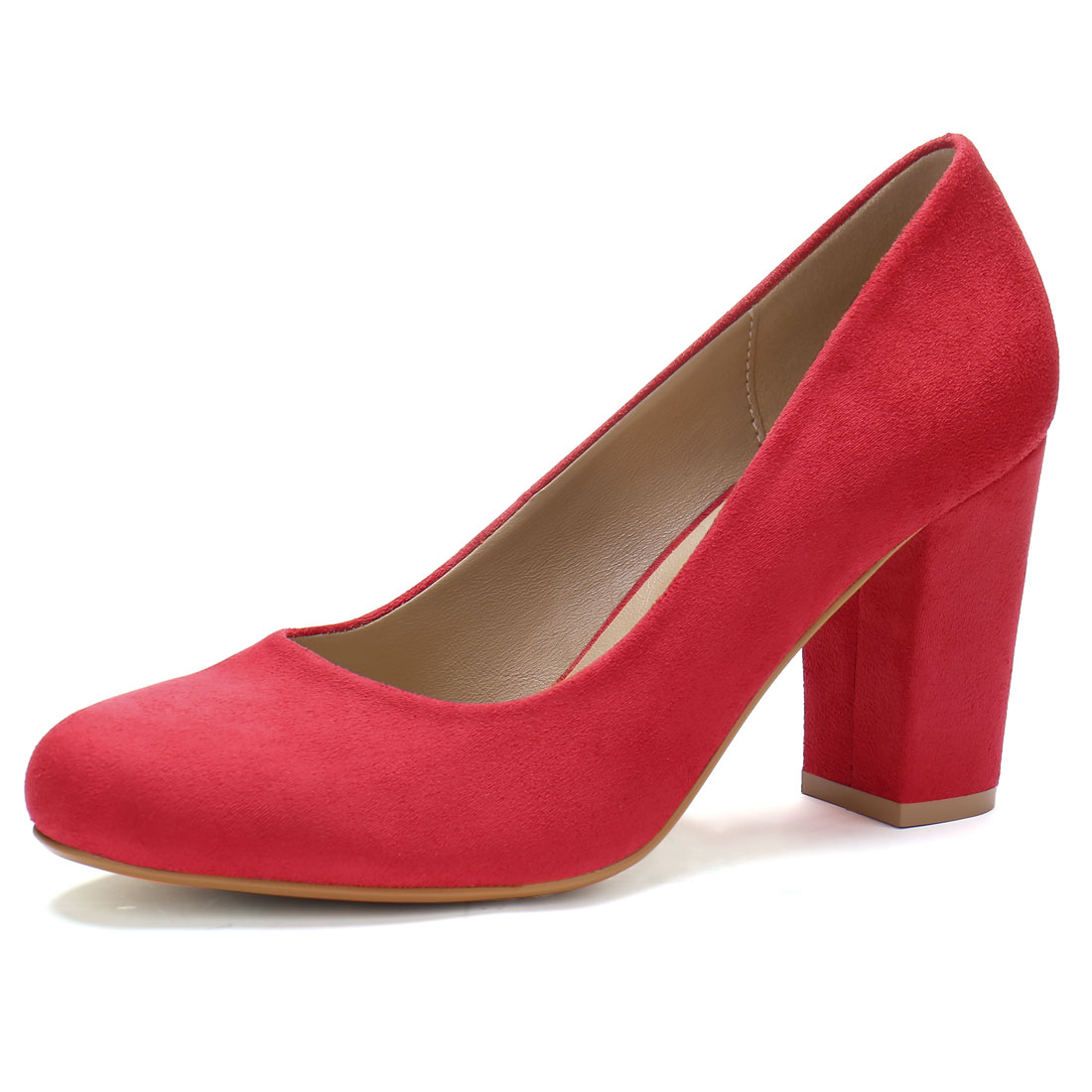 Ladies Rounded Toe High Block Heel Classic Pumps Red US 6 - image 7 of 7