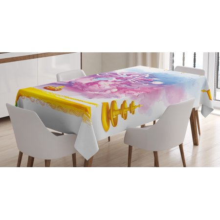 India Tablecloth, Ceremonial Celebration Theme God Goddess and Lion in Divine Scene Cultural Elements, Rectangular Table Cover for Dining Room Kitchen, 60 X 84 Inches, Multicolor, by Ambesonne (God And Goddess Costume For Halloween)