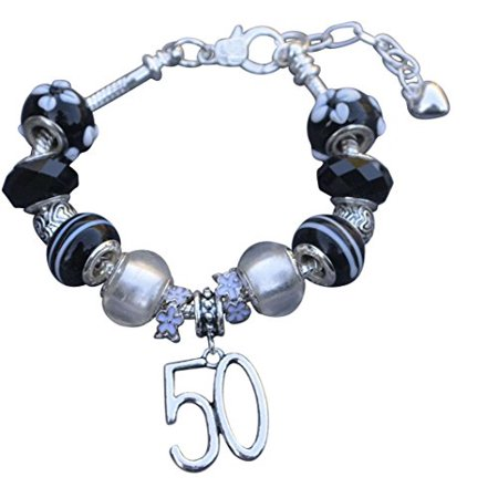 50th Birthday Gifts For Women Charm Bracelet Adjustable Bangle Perfect