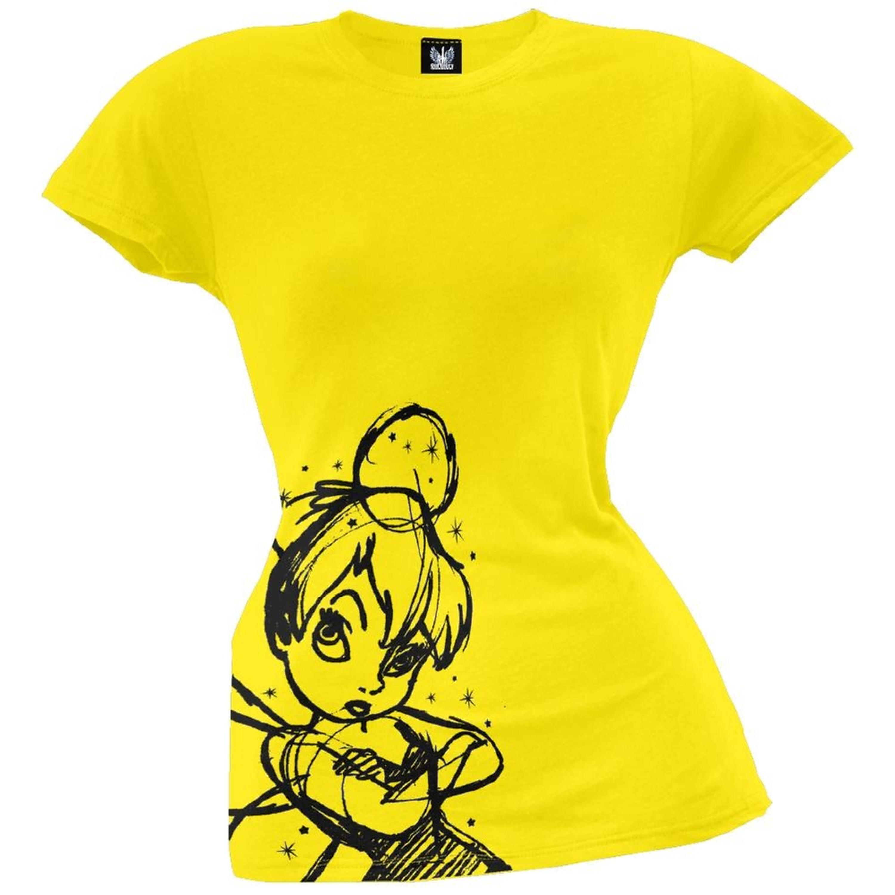 Tinkerbell - Flock Sketch Juniors T-Shirt