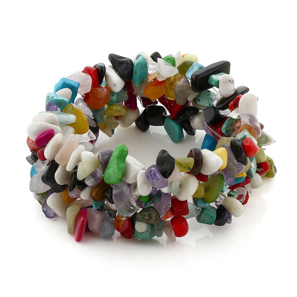 "8"" Multi Strands and Multi Color Stone Chips Stretch Bangle Bracelet"