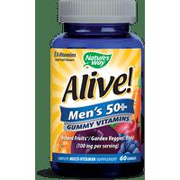 Alive! Men's 50+ Gummy Multivitamin Supplement with Orchard Fruits & Garden Veggies Powder Blend (100 mg per serving), 60 Gummies