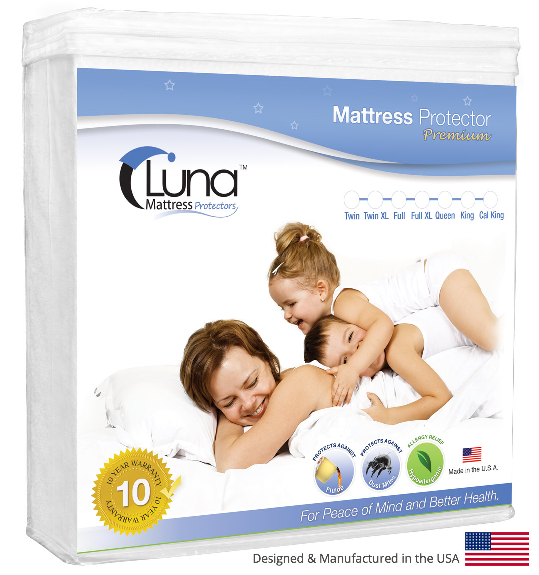 luna premium waterproof mattress protector multiple sizes made in the usa vinyl free walmartcom