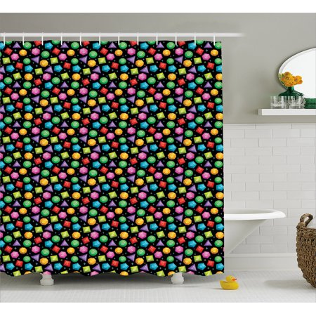 Diamonds Shower Curtain  Colorful Geometric Rocks Hexagons Pentagons Triangles Pattern With Dots And Stars  Fabric Bathroom Set With Hooks  69W X 84L Inches Extra Long  Multicolor  By Ambesonne