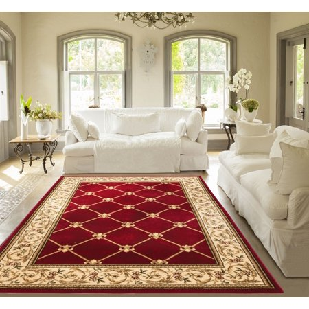 Patrician Trellis Red Lattice Area Rug European French Formal Traditional  Area Rug 7\' x 9\' Easy Clean Stain Fade Resistant Shed Free Modern Classic  ...