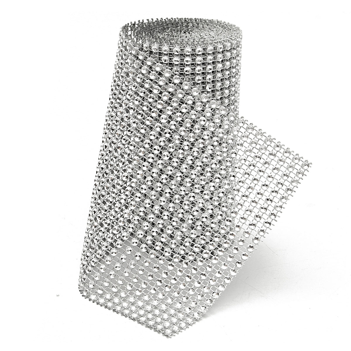Silver Diamond Rhinestone Ribbon Wrap Bulk DIY Bling-Birthday/ Bridal Shower/Wedding Cake Vase Decorations, Party Supplies,2 Yards