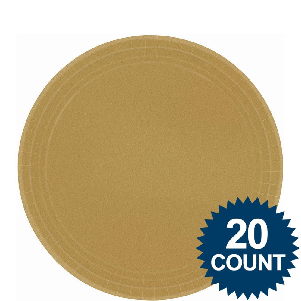 "Gold 9"" Luncheon Paper Plates (20 Pack) - Party Supplies"