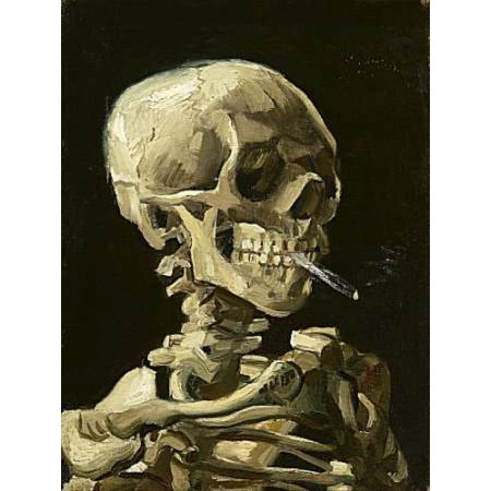 Skull with Burning Cigarette Poster Print by Vincent Van Gogh