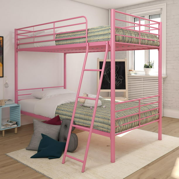 Mainstays twin over twin convertible bunk bed, pink metal
