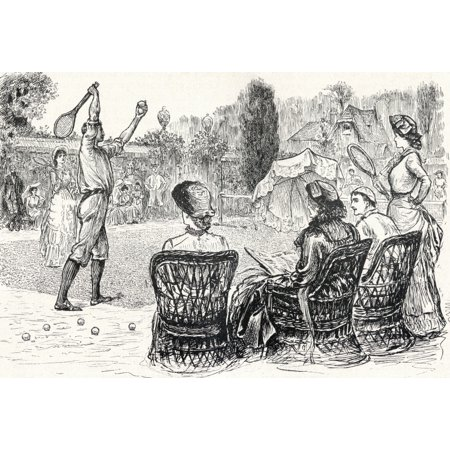Lawn Tennis In 1883 Engraved From The Original Drawing In Punch Magazine From The Book The Century Illustrated Monthly Magazine May To October 1883 Stretched Canvas - Ken Welsh  Design Pics (34 x 24)