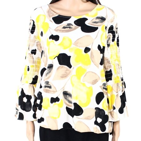 Women's Blouse Plus Printed Smocked Sleeves 0X