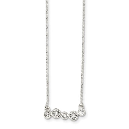 Solid 925 Sterling Silver Polished 5 Bezel Set CZ Cubic Zirconia 16in Necklace Chain 16