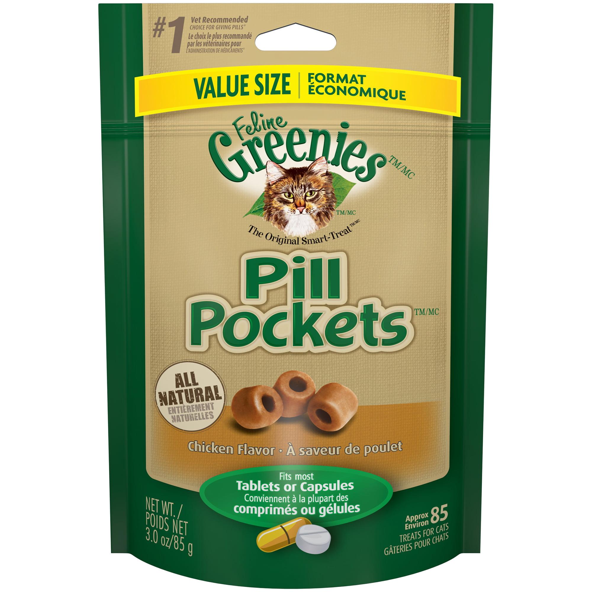 FELINE GREENIES PILL POCKETS Natural Cat Treats Chicken Flavor, 3 oz. Value Size Pack (85 Treats)