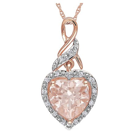 Amanda Champagne CZ Heart Rose Gold Plated Necklace