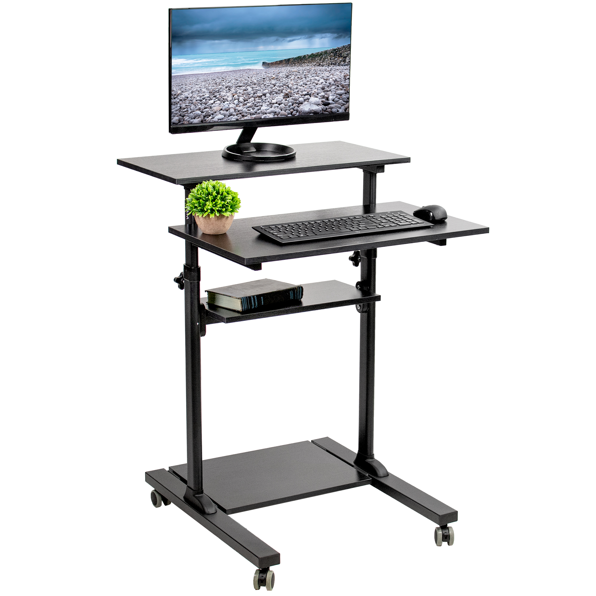 VIVO Black Mobile Height Adjustable Stand Up Desk | Computer Workstation Rolling Presentation Cart (CART-V02DB)