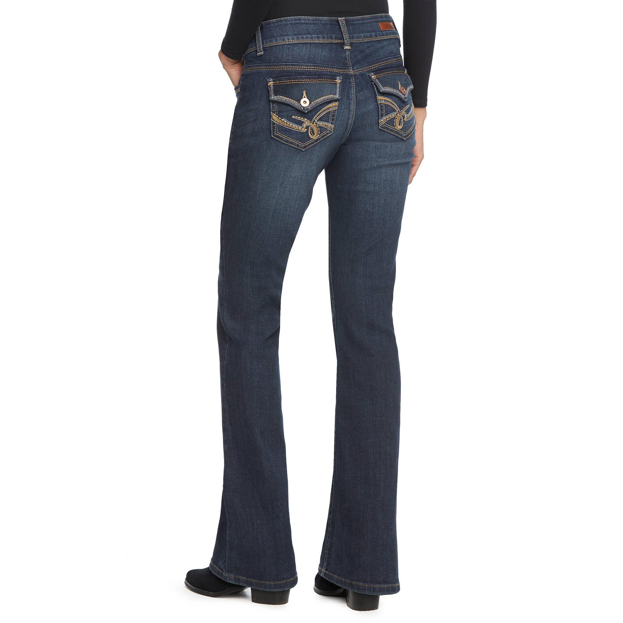 L.E.I. Juniors' Sophia Hipster Flare Jeans - Walmart.com