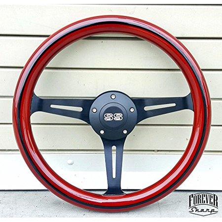 Sport Classic Wood Grain Black Ss Steering Wheel W/ 69-94 Chevy Gm Boss Kit