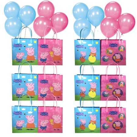 Peppa Pig Wrapping Paper (12pc Peppa Pig Medium Goody Party Favor Goodie Gift Bag Birthday w/Free)