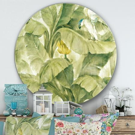 - DESIGN ART Designart 'Tropical Canopy II Green' Farmhouse Metal Circle Wall Art