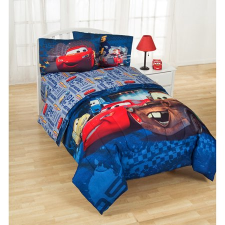 4pc Disney Cars Full Bed Sheet Set Lightning McQueen Piston Cup Racing Bedding Accessories