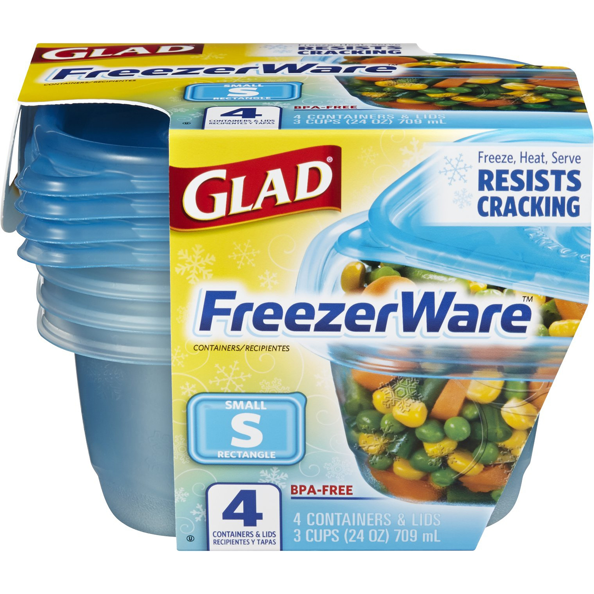 Glad Food Storage Containers, FreezeWare, Small, 24 oz, 4 ct