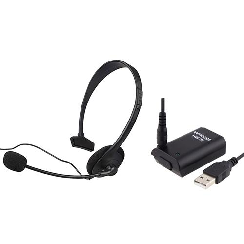 Insten Black Game Live Headset With Mic+3600mAh Battery With USB Cable For Xbox 360