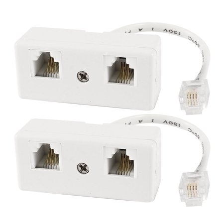 Unique Bargains 2 Pcs RJ11 6P4C Single Male to Double Female Socket Telephone Adapter