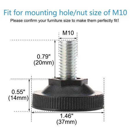 M10 x 20 x 37mm Leveling Feet Floor Protector for Home Apartment Sofa Leg 12pcs - image 3 of 7