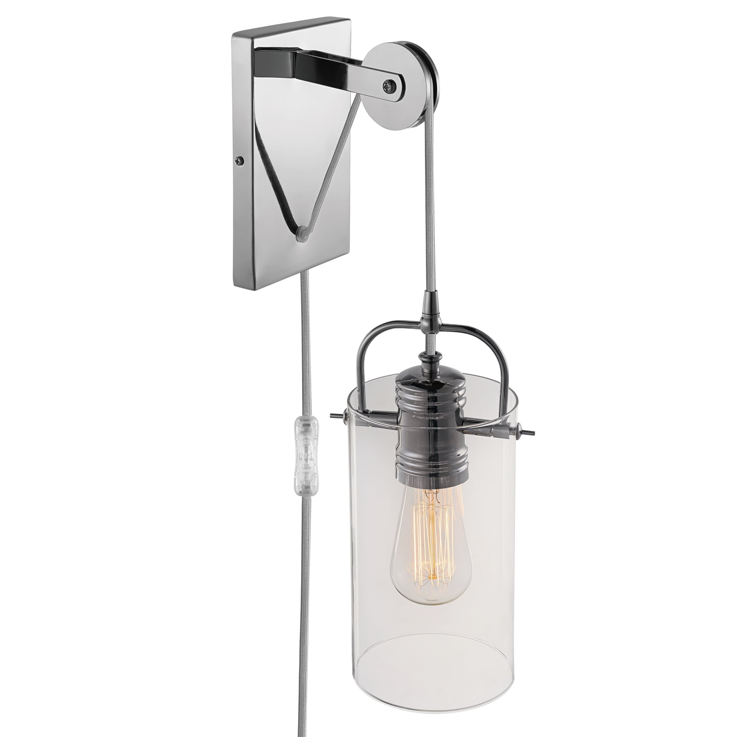 Globe Electric 60 Watt Nordhaven 1-Light Chrome Plug-In or Hardwire Wall Sconce by Globe Electric