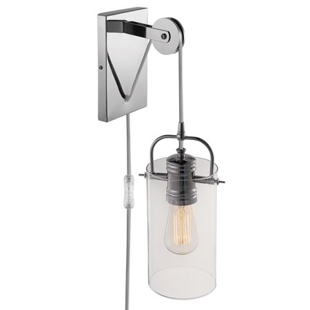 Globe Electric Nordhaven 1-Light Chrome Plug-In or Hardwire Wall Sconce, 65946 ()