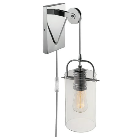 Globe Electric Nordhaven 1-Light Chrome Plug-In or Hardwire Wall Sconce, -