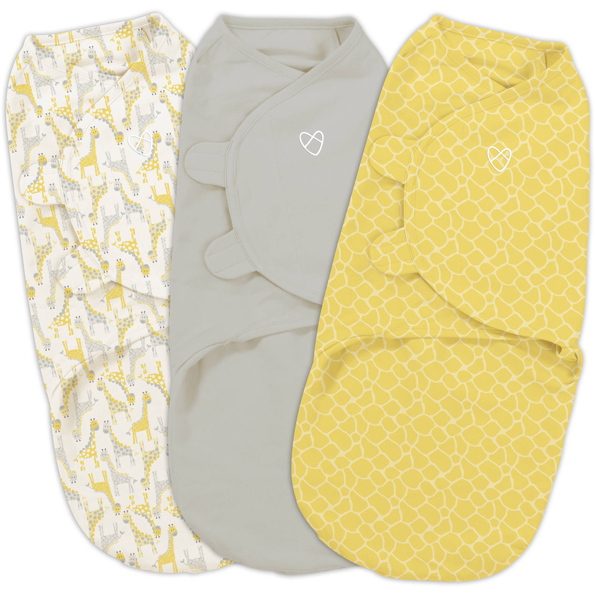SwaddleMe Original Swaddle, 3-Pack, Grey Yellow Safari, Small