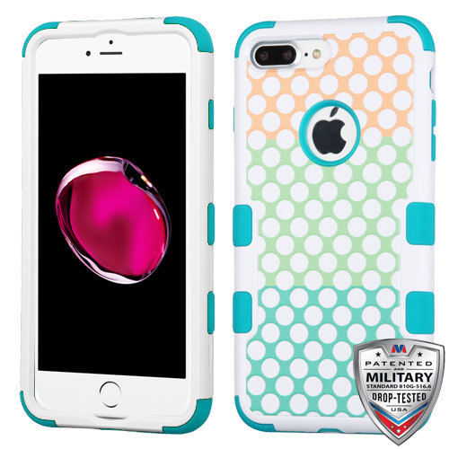 Apple iPhone 7 Plus Case - Wydan TUFF Hybrid Hard Shockproof Case Heavy Duty Protective Cover - Polka Dot Trio