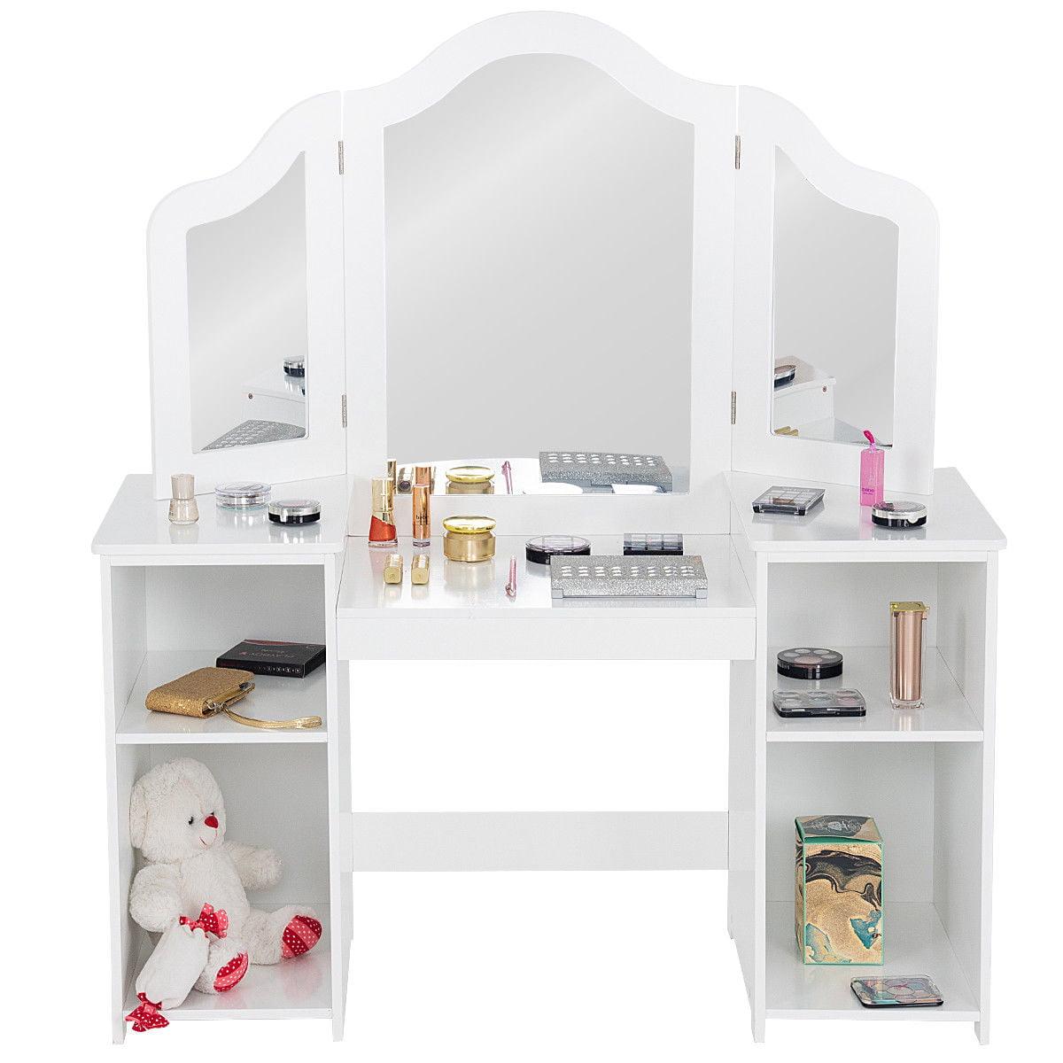 Costway Vanity Table Set Makeup Dressing Kids Girls Study Table Tri Folding Mirror Whitepink Walmart Com Walmart Com