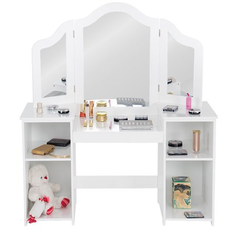 Costway Vanity Table Set Makeup Dressing Kids Girls Study Table Tri Folding Mirror (Kid Vanity Set)