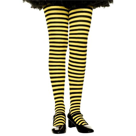 Music Legs 270-BLK-YELLOW-L Girls Striped Tights, Black & Yellow - Large - image 1 of 1