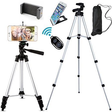 Jiraiya Aluminum Professional Lightweight Camera Tripod for iPhone, Cellphone,Gopro Hero,Cameras,Camcorder with Cellphone Holder Clip and Remote