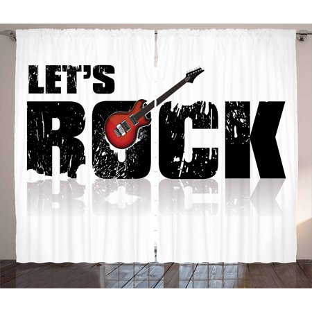 Guitar Curtains 2 Panels Set  Lets Rock Text With Grunge Looking Color Splashed Letters Music Fun Concert  Window Drapes For Living Room Bedroom  108W X 96L Inches  Ruby Black White  By Ambesonne