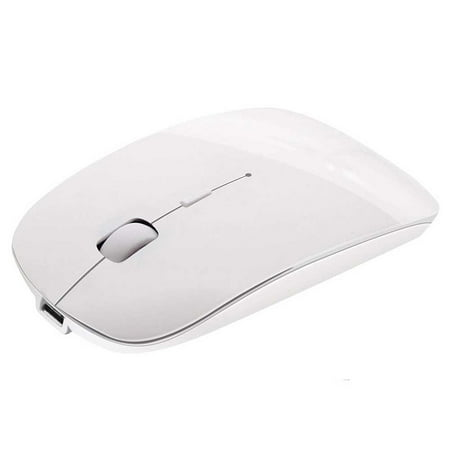 Peroptimist Rechargeable Bluetooth Mouse for Mac Laptop Wireless Bluetooth Mouse for Windows Notebook WHITE