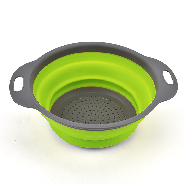 BeautyTale Kitchen Tool Collapsible Strainers Sifter Silicone Colander Fruit Vegetable Strainer--green by