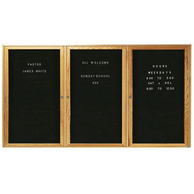 Aarco Products ODC3672-3 3-Door Enclosed Changeable Letter Board - Oak