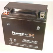 PowerStar PM14-BS-HD-4 H-D Battery 14Bs Honda Shadow Harley V Rod Battery Replacement X2-14