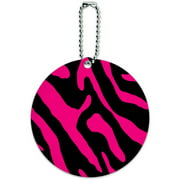 Zebra Print Black Hot Pink Round Luggage ID Tag Card for Suitcase or Carry-On