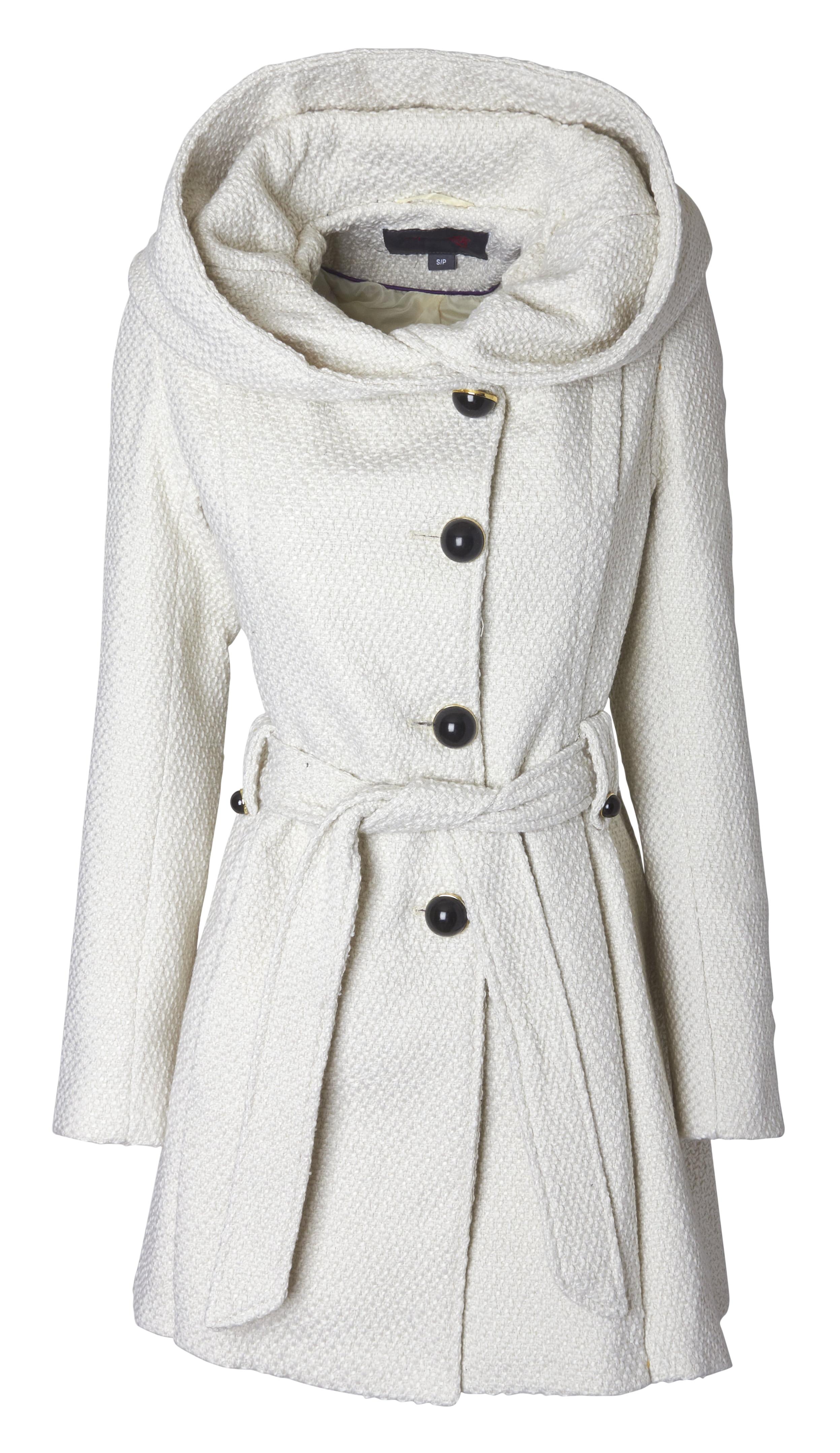 Sportoli Womens Single Breasted Wool Blend Belted Winter Dress Drama Coat with Hood by Sportoli