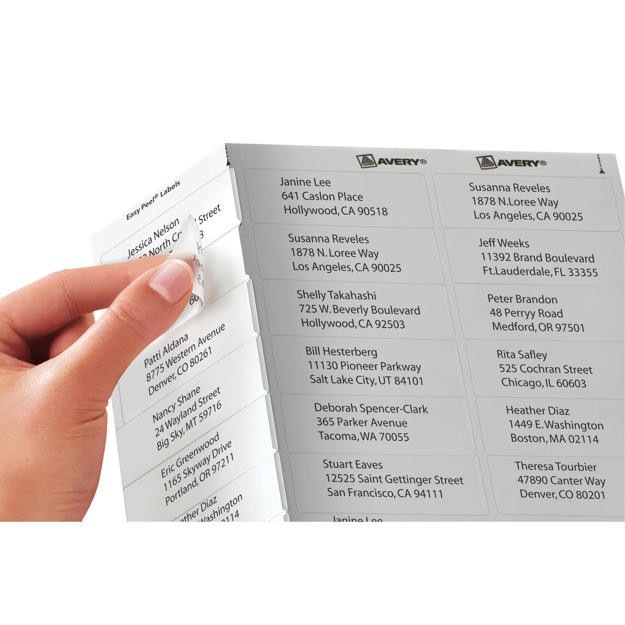 avery easypeel mailing address labels 1 x 263 in clear count walmartcom
