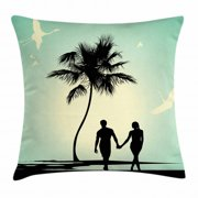 Romantic Throw Pillow Cushion Cover, Married Couple walking on the Beach with Tropical Fauna and Flora, Decorative Square Accent Pillow Case, 24 X 24 Inches, Pale Green Seafoam Black, by Ambesonne